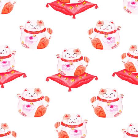maneki neko: Lucky cats sitting on the red pillows seamless watercolor print