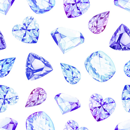 Blue and violet diamond crystals watercolor seamless vector pattern 일러스트