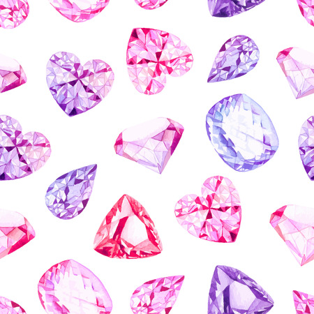 Pink and violet diamond crystals watercolor seamless vector pattern