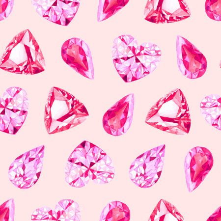 Ruby and pink diamonds watercolor seamless vector pattern Vector