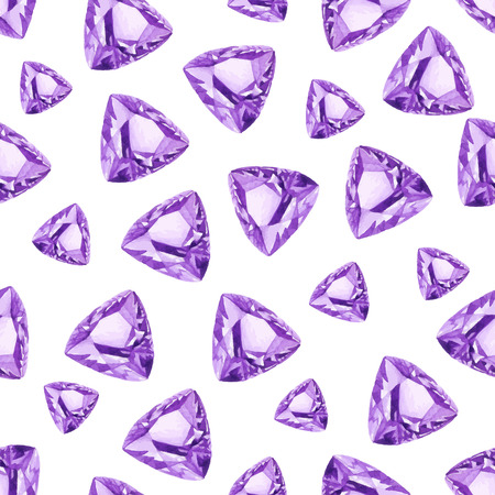 Triangle cut amethysts watercolor seamless vector pattern Vector