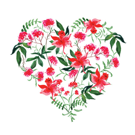 crimson: Watercolor wild flowers vector design heart. All elements are isolated and editable. Illustration