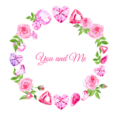 Pink roses and diamonds vintage vector design frame. All elements are isolated and editable.