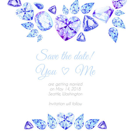 save: Blue and purple diamonds watercolor vector design frame. Save the date template for wedding.