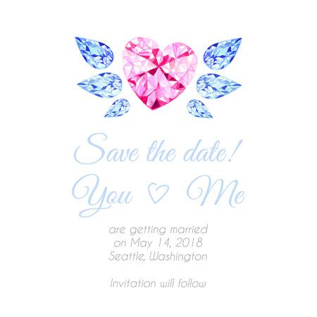 coeur diamant: De coeur de diamant avec des ailes aquarelle dessin vectoriel fond. Enregistrez le modèle de date pour le mariage. Illustration