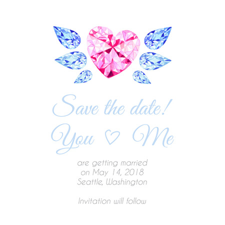 Diamond heart with wings watercolor vector design background. Save the date template for wedding.
