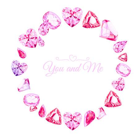 diamante: Diamantes rosados ??Marco de la acuarela de diseño vectorial ronda. Todos los elementos están aislados y editable.