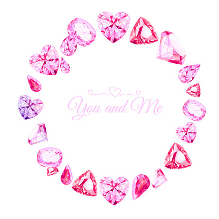 diamond stones: Pink diamonds watercolor round vector design frame. All elements are isolated and editable.