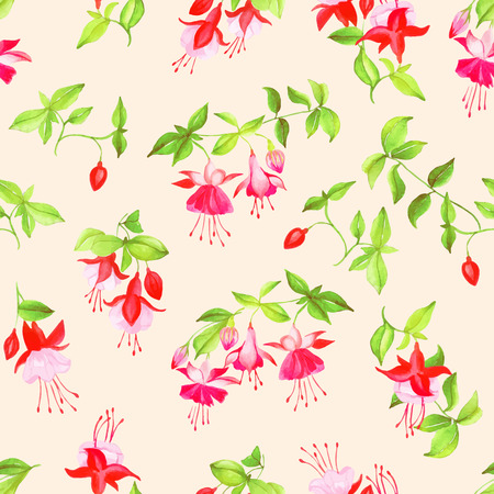 Beige blooming fuchsia watercolor seamless vector print