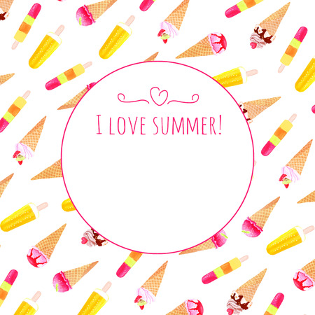 sorbet: Colorful ice cream watercolor vector design card Illustration