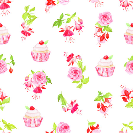 cupcake background: Blooming fuchsia, cupcakes and roses watercolor seamless vector print Illustration