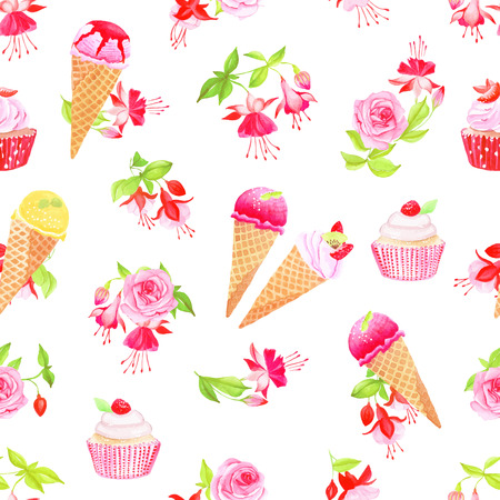 Blooming fuchsia, desserts and roses watercolor seamless vector print Vector