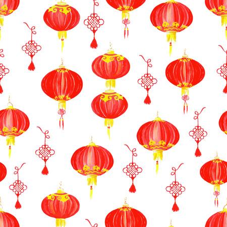 Oriental chinese lantern watercolor seamless vector pattern