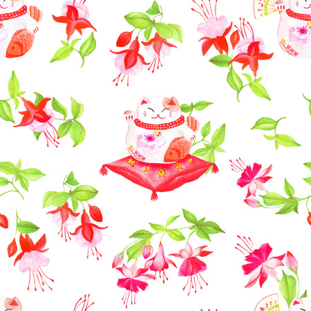 maneki neko: Chinese fuchsia and lucky cats sitting on the pillows. Watercolor hand-drawn seamless vector pattern.