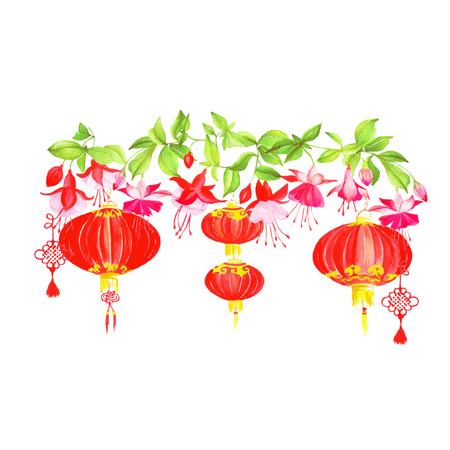 Asian lanterns and fuchsia vector design banner. All elements are isolated and editable Ilustracja