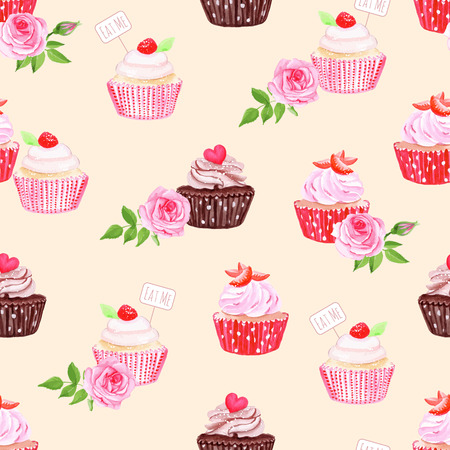 chocolate cupcake: Chocolate and strawberry cupcakes beige seamless vector print