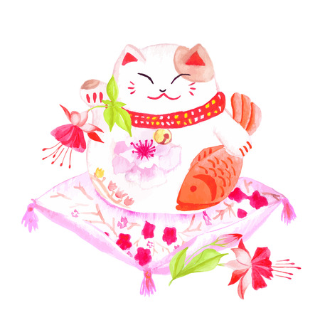 lucky cat: Chinese lucky cat sitting on the red pillow with fuchsia and waving paw. Watercolor hand-drawn vector design element. Illustration
