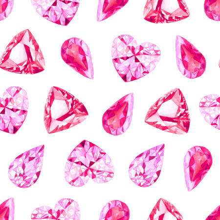ruby: Ruby and pink diamonds watercolor seamless vector pattern Illustration