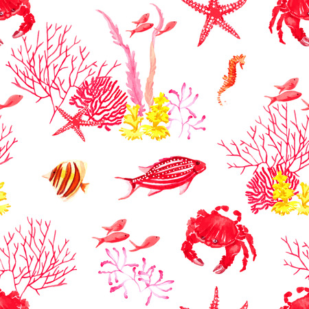 Bright fishes,crab and corals watercolor seamless vector pattern Vector