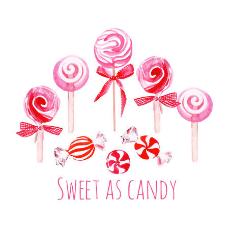 sugarplum: Pink sweets with bows watercolor vector elements