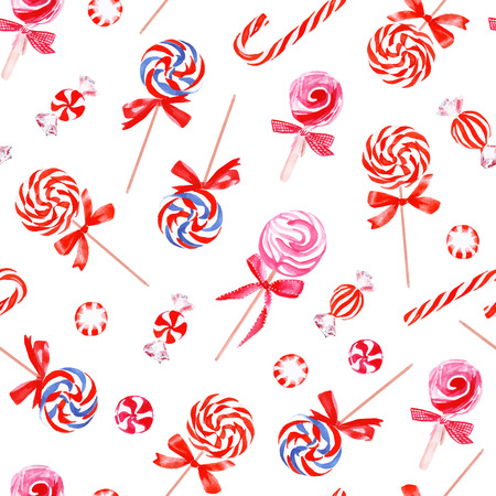 sugarplum: Party pink sweets watercolor seamless vector pattern Illustration
