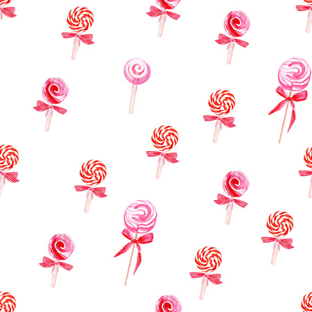 sugarplum: Red lollypops with bows watercolor seamless vector pattern Illustration