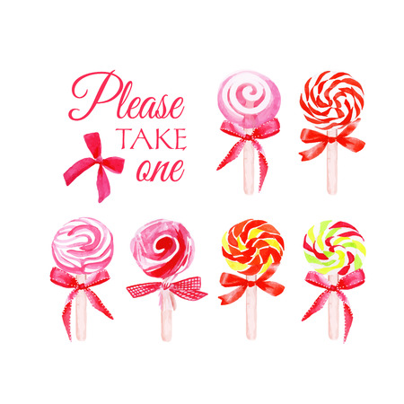 sugarplum: Take one candy with bows watercolor vector elements