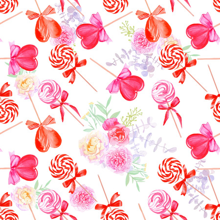 Romantic candy with bows and flowers watercolor seamless vector print Ilustração