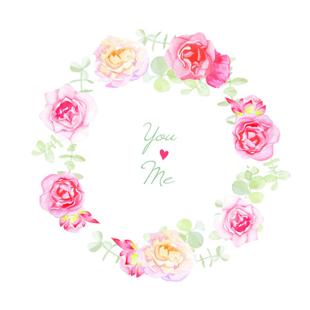Delicate roses wedding wreath vector card. Save the date template in shabby chic style.  イラスト・ベクター素材