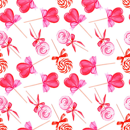 Pink lollypops with love watercolor seamless vector pattern