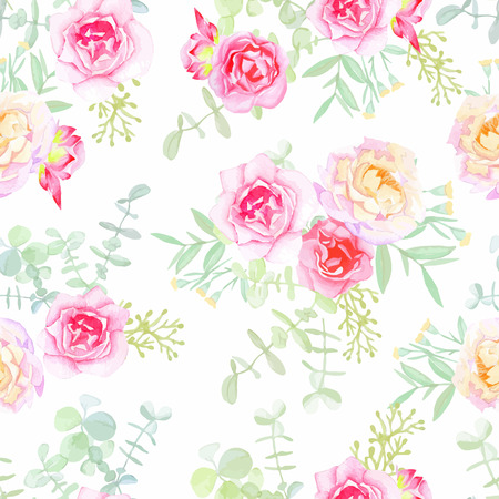 Delicate roses seamless vector pattern in shabby chic style. Watercolor hand-painted.