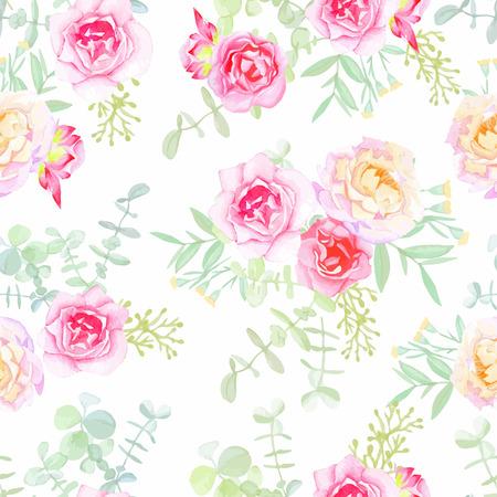 dessin fleur: roses d�licates de mod�le vectoriel sans soudure dans le style shabby chic. Aquarelle peinte � la main.