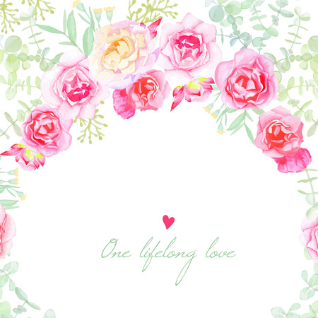 Garden roses wedding vector card. Save the date template in shabby chic style. Vettoriali