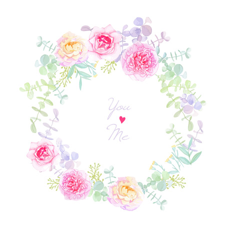 Peonies and roses wedding wreath vector card. Save the date template in shabby chic style. 向量圖像
