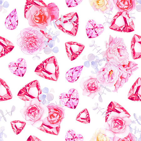 Pink diamonds, peonies and roses seamless vector print.