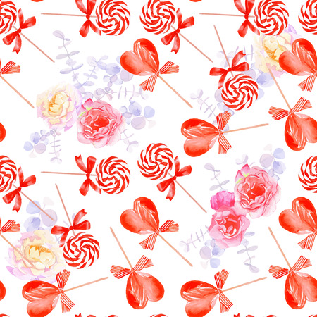 sugarplum: Romantic candy with bows and flowers seamless vector print Illustration