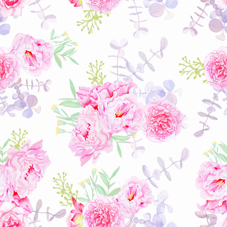 Sweet purple peonies seamless vector print in shabby chic style.