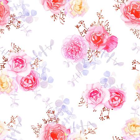 feminine floral flower: Purple sweet roses seamless vector print in shabby chic style.