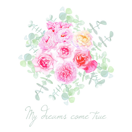 Garden flowers french styled bouquet. Shabby chic floral design vector element.  イラスト・ベクター素材