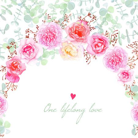 Bruiloft bloemen vector kaart. template uitnodiging in shabby chic stijl.