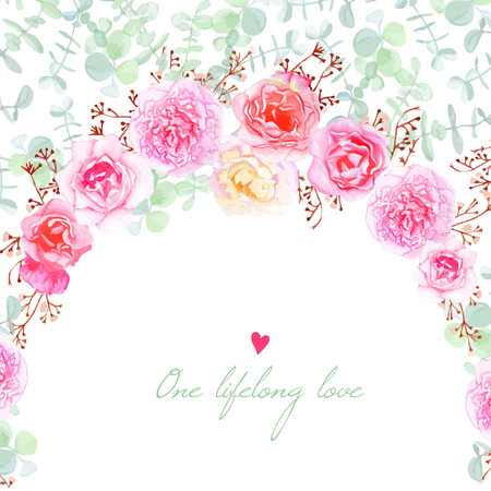 Wedding flowers vector card. Invitation template in shabby chic style.