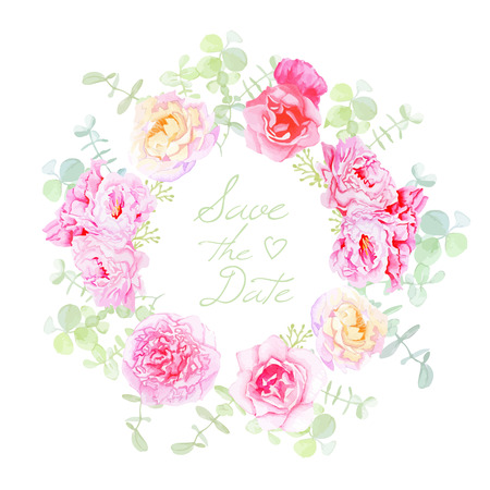 Wedding rose and peonies wreath vector card. Save the date template in shabby chic style.