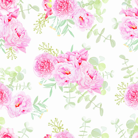 Serene peonies seamless vector print in shabby chic style. 일러스트