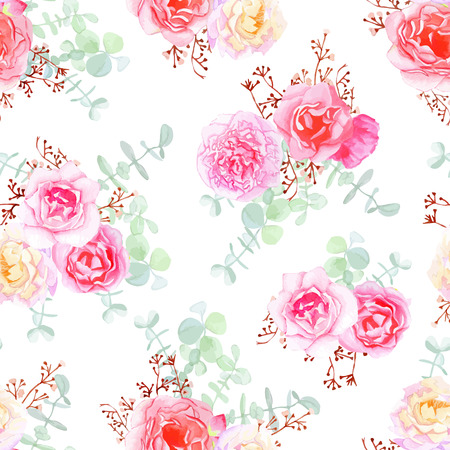 Delicate roses seamless vector pattern in shabby chic style. Ilustrace