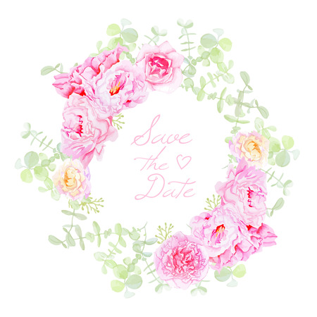 Delicate peonies wreath round vector frame. Save the Date wedding template in shabby chic style. Ilustrace