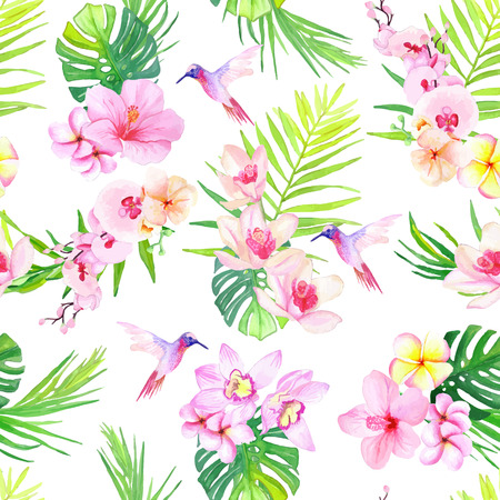 tropical bird: Hummingbirds and tropical flowers seamless vector pattern
