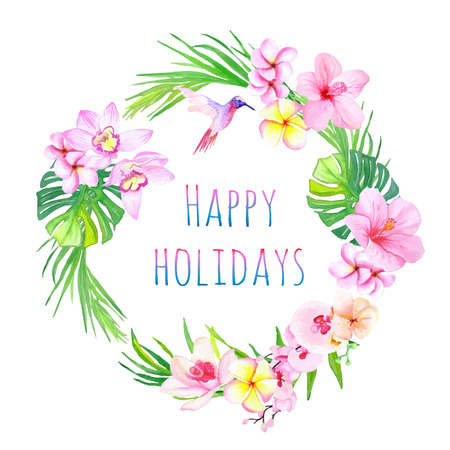 Happy holidays and tropical flowers vector design frame. All elements are isolated and editable. Çizim