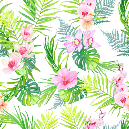 Exotic plants and flowers seamless vector print