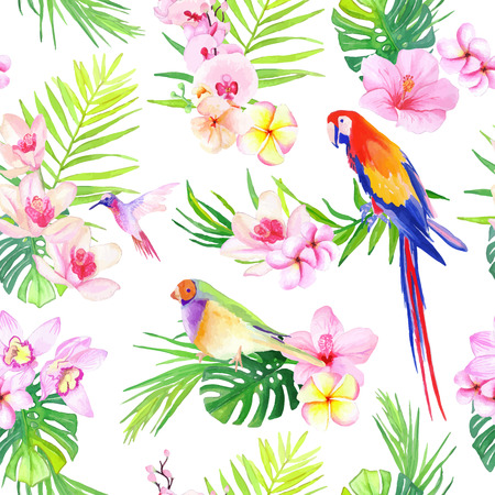 Bright tropical leaves with flowers and birds seamless vector print