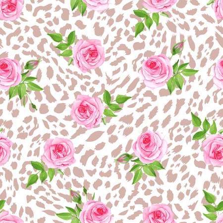 abstract animal: Glam leopard and roses seamless vector print